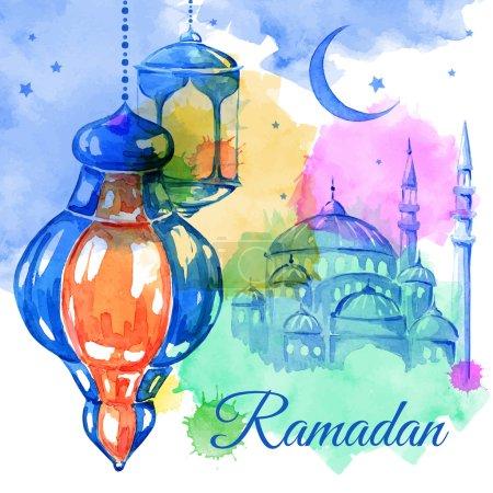 Ramadan Kareem  watercolor illustration