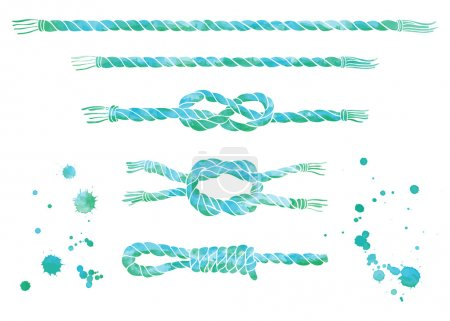 Set of  watercolor sea ropes