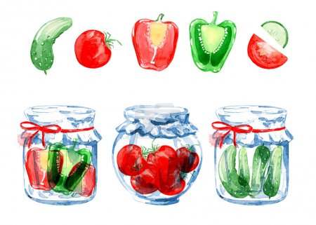Illustration for Set of veggies jars. Vegan background. Watercolor background. Vegetarian food. Tomato, cucumbers, peppers. Food background.  Preserving. Isolated elements for easy use. - Royalty Free Image