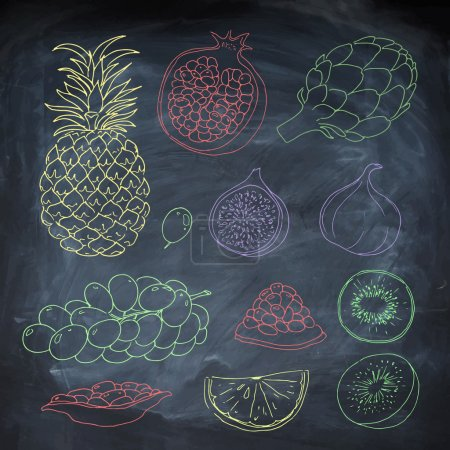 Fruits on chalk board background