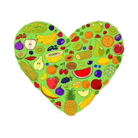 Green heart from fruits