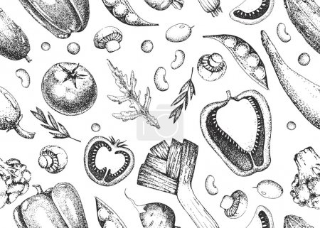 Illustration for Template hand drawing vector vegetarian background. Seamless vector vintage food pattern. Vintage black and white illustration in the style of engravings. Healthy vegetarian food. - Royalty Free Image