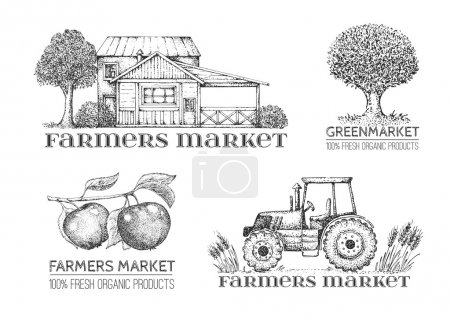 Set of vintage retro farm logo