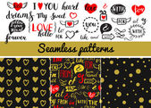 Set of vintage vector hand drawing elements and seamless pattern
