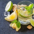 Постер, плакат: Ginger lemonade and ingredients