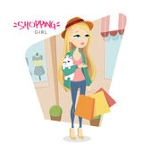 Cute young blonde girl with dog who goes shopping