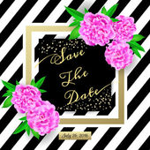 Save the date Modern invitation card with flowers