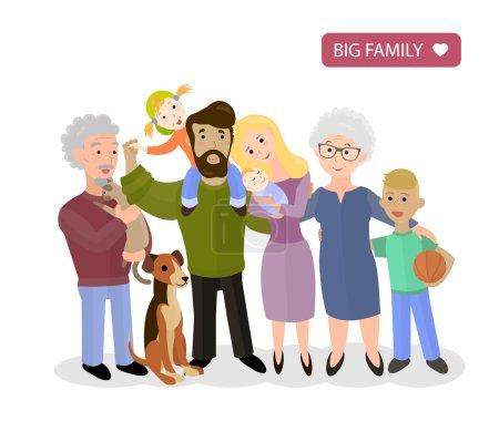 Grande famille heureuse. Parents avec enfants, vecteur