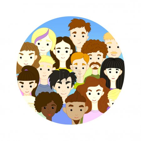 The group of international different people cartoon characters on background blue sky. Freehand drawing vector images of people's faces, avatars profile pictures.