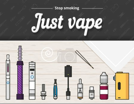 Illustration for Vape vector illustration of vaporizer and accessories, vaping, flat style - Royalty Free Image