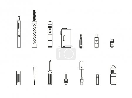 Illustration for Vaping outline icon set - Royalty Free Image