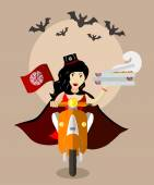 Halloween vampire food-deliverygirl on scooter with boxes of pizza
