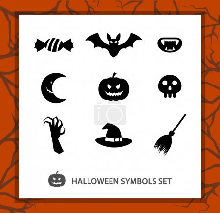Halloween symbols set: 9 monochrome silhouettes symbolizing Beggars Night. Background with a trees branches