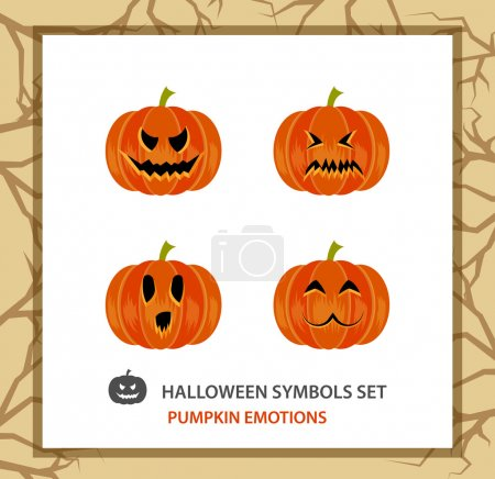 Halloween symbols set: 4 emotions pumpkin, flat. Background with a trees   branches