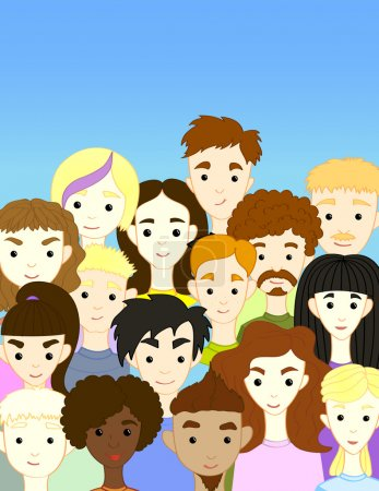 Crowd international different people characters