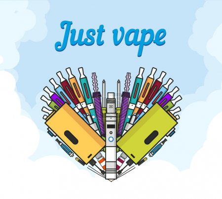 Illustration for Illustration of vaporizer and vaping accessories a heart form, Love vape, flat vector art - Royalty Free Image