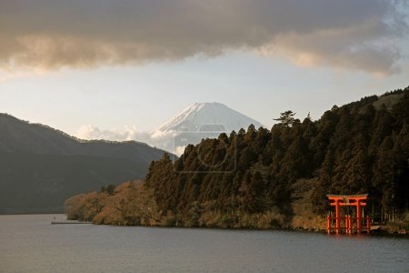 Snocapped Mount Fuji viewed from Hakone lake, Japanese shrine, Japan