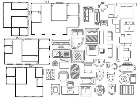 Illustration pour Plan d'architecture en vue de dessus vecteur pour vos idées - image libre de droit