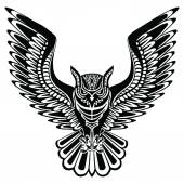 Flying owl black silhouette with a pattern on the body