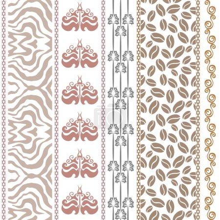 Art Deco vintage silk wallpaper with fantasy ancient motifs. Zebra print, damask borders, coffee pattern, scroll stripe, boho elements.