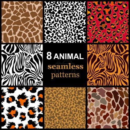 Set of 8 seamless animal patterns. Safari textile collection.
