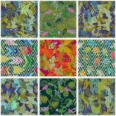 Camouflage set Collection of seamless vector camouflage patterns Camo floral geometric motifs