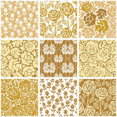 Set of Victorian damask seamless patterns with golden roses Chinese Indian French and Italian motifs