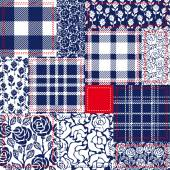 Blue white and red patchwork Bohemian style collage made from cotton flaps Set of seamless vector patterns