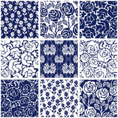 Set of Victorian damask seamless patterns with roses Chinese Indian French and Italian motifs
