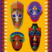 Set of stylized tribal African masks