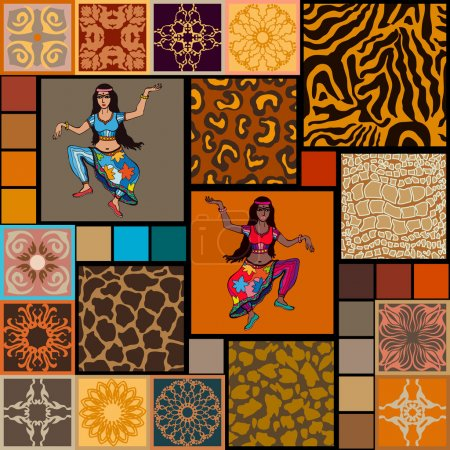 Seamless patterns with dancing Indians girls