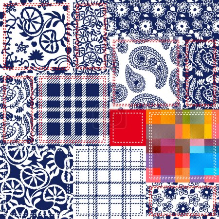 Blue, White, Red Patchwork. Textile Collage. Checkered, Floral Patterns