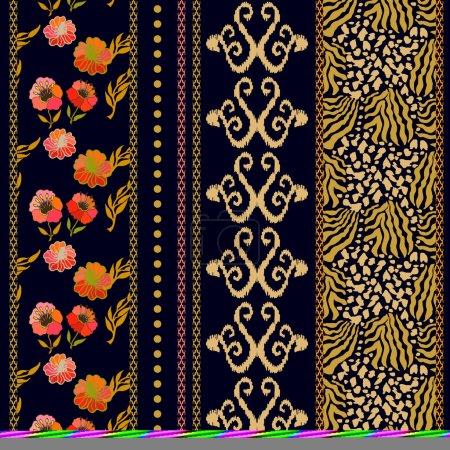 Set of rich retro lace borders with boho motifs.