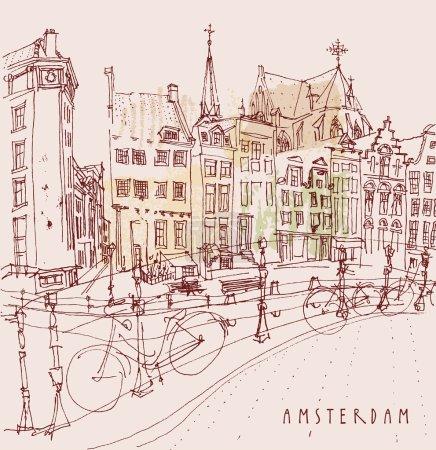 """Illustration pour Amsterdam, Pays-Bas. Vue du vieux centre avec vélos. Bâtiments historiques néerlandais. Dessin à main levée coloré vecteur isolé. Modèle de carte postale de voyage avec lettrage """"Amsterdam"""" - image libre de droit"""