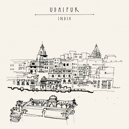 View of Udaipur, Rajasthan, India. Hand drawn city...