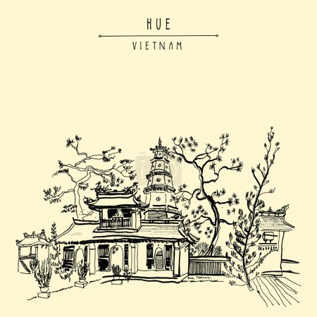 Illustration for Hue, Vietnam, Southeast Asia. Thien Mu pagoda. Historic temple. Religious building. Former imperial capital's unofficial symbol. Artistic freehand drawing. Vintage postcard or poster in vector - Royalty Free Image
