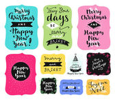 Set of Merry Christmas and Happy New Year vintage hand drawn logos badges quotes and phrases in vintage colors For gift tags postcards posters Modern calligraphic artwork in vector