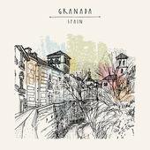 Granada Spain hand drawn postcard