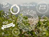 set of 100% bio organic logos