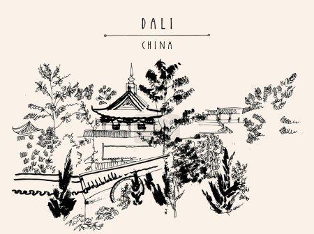 temple traditionnel chinois dans le parc Dali