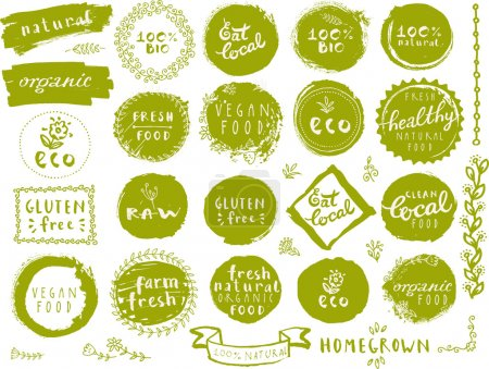 Illustration for Retro style vector set of 100% bio organic logos, labels, templates with floral and vintage elements: wreaths and frames, heart made of flowers, lettering. For restaurant menu, logo, package design - Royalty Free Image