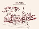 Singapore vintage postcard