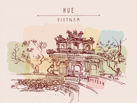 Traditional Vietnamese architecture  postcard