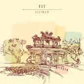 Traditional Vietnamese architecture  postcard