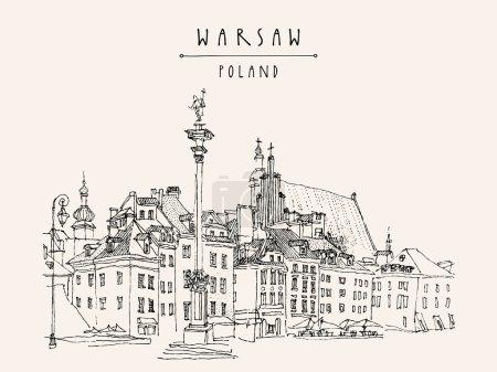 Castle Square in Warsaw postcard