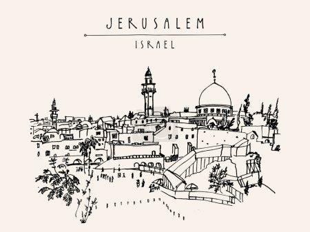 Wailing wall in Jerusalem, postcard