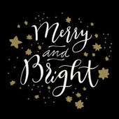 Merry and Bright calligraphic card in retro style