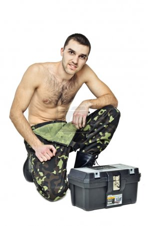 Sexy man, man in uniform, tools