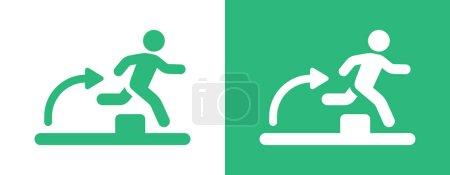Hindernislauf-Ikone Mann springt an Hindernis vorbei Icon Vektor Illustration