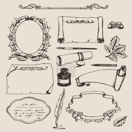 Photo for Set of various hand drawn papers and frames - Royalty Free Image